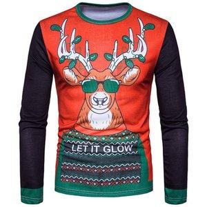 Hirigin 2017 Рождество Мужские футболки с длинным рукавом Лось Санта-Мопс смешные печатные снег футболки новые домашняя одежда