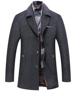 Wolle Jacken Mode Schlank Einreiher Herren Wolle Mäntel beiläufige Taschen-Männer Kleidung Panelled Herren Designer