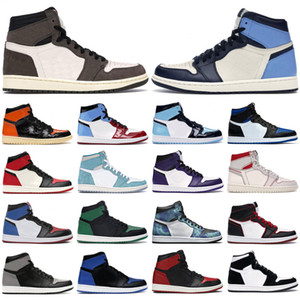 nike air jordan 1 retro basketball shoes Scarpe da basket da uomo alte 1s og Obsidian UNC a Chicago Pine Turbo verde Travis Scott Bloodline jumpman uomo donna sneaker sportiva