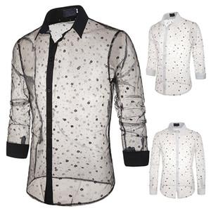 Hommes de luxe de Hot dentelle T-shirt transparent imprimé style flocon de neige à manches longues sexy Polo design unique Costume de scène Homme
