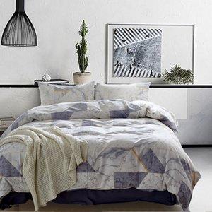 Lucky Home King Geometry Marble Pattern - Juego de funda nórdica de 3 piezas Algodón lavado Natural Ultra suave Textil para el hogar para adultos Habitación Juego de sábanas