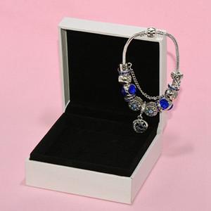 Charme New oco Disc Pulseira Pingente de Pandora prateado DIY Moon Star bracelete frisado com Original Holiday Gift Box