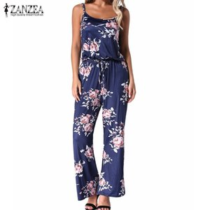 Summer Floral Print Rompers Jumpsuits Women 2019 Casual Straight Sexy Backless Long Wide Leg Pants Playsuits Pockets Bodysuits Y19071701