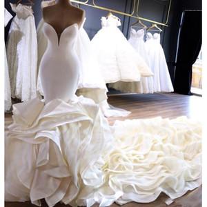 Vestidos de novia de lujo en cascada de la sirena vestidos de novia 2019 Capilla Train Plus Tamaño Bellanaija Nigeria País árabe País Vestidos nupciales
