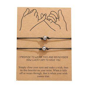 Coppia borda i braccialetti Set intrecciato corda gioielli regolabile Bracciale String Red genitore-figlio Desideri regalo del braccialetto Lover