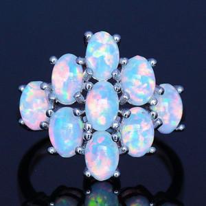 Graceful blanc / bleu / rose opale de feu Anneaux pour unisexe
