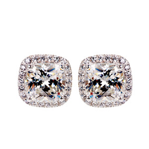 1CT New Arrival Hot Sale Sparkling Luxury Jewelry Real 925 Sterling Silver Three Color 5A Cubic Zircon Popular CZ Diamond Women Stud Earring