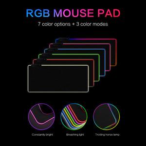 RGB LED لوحة الماوس كبير الخلفية لوحة الماوس USB سلكية الإضاءة الألعاب نقاط ماوس الفأر لوحة المفاتيح غير زلة ملون مضيئة لPC الفئران حصيرة