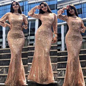 Sparkly Sexy Mermaid Evening Dresseses Sequin Long Evening Gown Fastened Cuff Formal Dress Illusion Neck Long Dresses Evening
