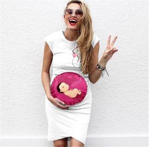 Diseñador Embarazo mujeres Baby Love Vestidos estampados floja ocasional Manga corta de cuello redondo vestidos de las señoras vestidos