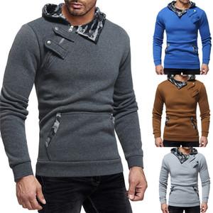 Männer Hoddies Tops Langarm Slim Fit mit Kapuze Taschen Zipper Buttons Rippe Ärmel Sweatshirt Pullover Herbst-Winter-Trainingsanzug