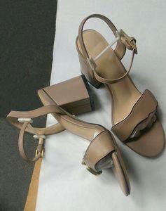 Les femmes chunky talon Sandal Sandales en cuir à talons hauts talons mi-7-11cm chaussures sexy avec double tons or 10 couleurs