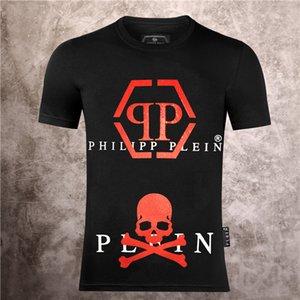 Pullover T-Shirt Letter PRINT PHILIP Plain T-shirt dos homens Marca Casual Homens Verão de algodão de manga curta T-shirt p101