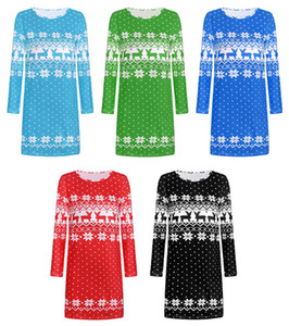 5 Colors Women Christmas Dress Elk Snowflake Printed Long Sleeve Autumn Winter New Xmas Dress For Woman