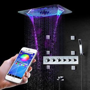 터치 패널 LED있는 샤워기을 강우 샤워 꼭지 세트 마사지 스파 제트 욕실 샤워 다채로운 710 * 430mm 자동 온도 조절 샤워 믹서 황동