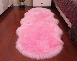 Super Soft Sheepskin Rug Indoor Modern Silky Fur Rugs Bedroom Floor Mat Baby Nursery Rug Children Carpet