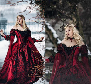Yeni Gotik Uyuyan Güzel Prenses Ortaçağ bordo ve siyah Gelinlik Uzun Kollu Dantel Aplikler Viktorya gelinlikler taklit