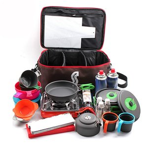 Outdoor Camping Hiking Picnic Bag Camping Portable Food Storage Bag Wild Picnic Tableware Outdoor Cookware Set Pot Gas Tank Anti Lunch Bags