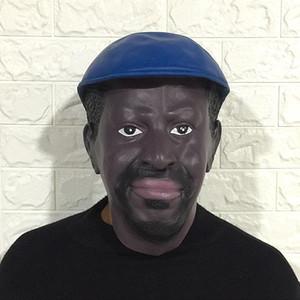 Máscara de látex masculina hombre negro realista barba disfraz disfraces de Halloween disfraces