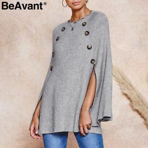 BeAvant 목 니트 망토 여성 스웨터 캐주얼 플러스 사이즈 스트리트 풀오버 점퍼 우아한 가을 겨울 여성 스웨터