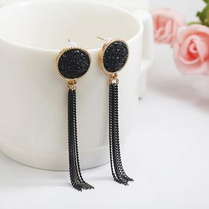 El nuevo modo dorado bañado en plata cuelga los pendientes colgantes negros de Strass Caída larga para las mujeres Pendientes Joyas