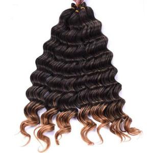 """(22) """" Dark Blood Threaten Ombre Braining Hair Extensions Water Wave Crochet Braids Hair Bundles Bug Bell Blue 80g/pack 1pc."""