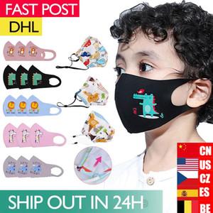 DHL 100pcs Masques Enfants Coton visage Cartoon enfants Tissu Bouche anti poussière d'échappement Sun Block Masques colorés Masque Nonwoven Dhl Expédition FY9046