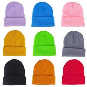 22 Renkler Klasik Erkek Bayan Bayan Slouch Beanie Örme Oversize Beanie Kafatası Şapka Aşıklar kintted Cap Katı Beanie Caps Caps