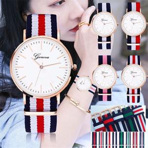 Мода Женева Часы Vintage нейлон Canva пояса Часы ЖЕНЕВА Пары кварцевые наручные часы женщин платье наручные часы Корея Стиль Часы Браслеты