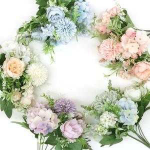 Venda quente flores misturadas chá bela rosa artificial flor hortênsia falso de seda buquê para diy nupcial decoração de casamento decoração de festa em casa
