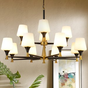 American Chandeliers Simple Living Room Chandelier Lighting Dining Room Light Home Bedroom Wrought Iron Lamp Modern led Glass Penant Lamps