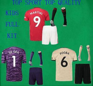 19 20 Manchester Soccer Джерси Шорты Носки Детские футбольные комплекты MAN UTD 2019/20 MARTIAL MAGUIRE POGBA RASHFORD Спортивный комплект рубашек и брюк для мальчиков