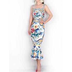 Vestido con correa de espagueti 2018 De lujo, azul y blanco, estampado de porcelana, informal, trompeta, vaina, media pierna, cuello cuadrado, vestido de nueva llegada MX19070302