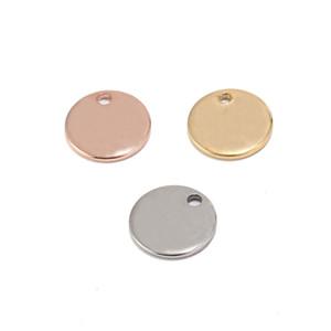 304 нержавеющая сталь розовое золото монета диск Шарм круглый штамповка пустой Теги металлические ювелирные изделия делая поставки 8 мм / 10 мм