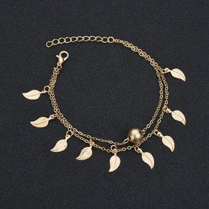 Bracelets de cheville pour les femmes délicat roman d'été Tassel feuilles double couche Chaîne cheville simple cheville élégante plage Bijoux pied