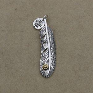 Colar retro pingente atacado dos homens de Prata tailandês S925 Sterling Silver Jewelry Ponto de penas