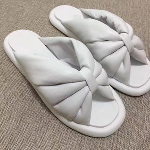 moda elegante marca mulheres do desenhador sandálias de couro genuíno lampskin chinelos confortáveis falhanços pretos branco plana sandálias sapatos casuais