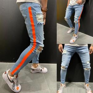 Rojo para hombre pantalones vaqueros rayados Moda Primavera Otoño rasgado azul de diseño del motorista los pantalones de Jean