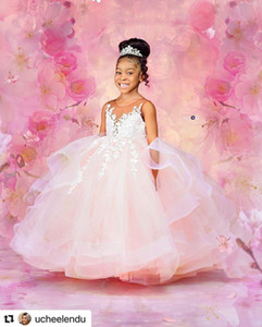 Princess Lace Pink Backless Flower Girl Dresses Stylish Sheer Neck Little Girl Pageant Dresses Wedding Dresses Cheap Communion Gowns