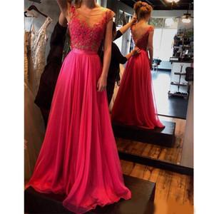 Особые случаи Платья Abiti Cerimonia Донна Sera Простая линия горячего розового шифона вечерние платья PROM длинные платья