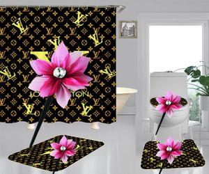 골든 편지 커튼 블랙 매트 현대 카펫 남성과 여성 레트로 커튼 빈티지 럭셔리 샤워 룸 장식 커튼 인쇄하기