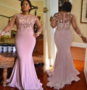 Dusty Pink Mermaid Mother of the Bride Dresses Jewel Neck Sheer Long Sleeve Mothers Dresses Plus Size Wedding Guest Evening Gowns
