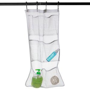 BEST 6 Pocket Bathroom Tub Shower Hanging Mesh Sundries Organizer Underwear Toys Toothbrush Caddy Storage Bag Waterproof 63*36cm