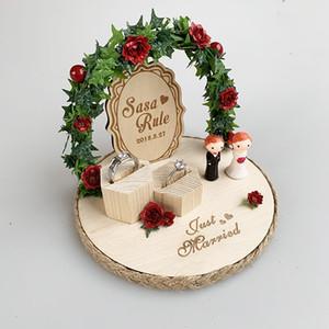 Personalizado Rústico Rústico Anillo Almohada Madera Novia Novio Compromiso Anillo Soporte Almohadas Propuesta de Matrimonio Día de la boda Decoración