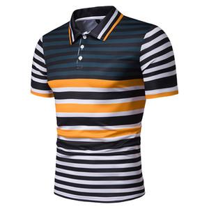 Mens der neuen Ankunfts-Sommer-Kurzschluss Langarm Polos Kontrastfarbe Stripes Männer Mode Slim Fit Shirts