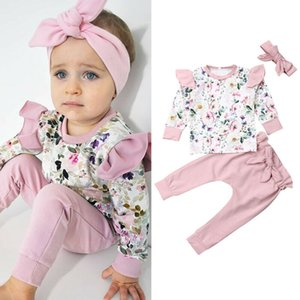Kids Baby Girl Flroal O neck Tops + pink pants + Headband Outfits Clothes Summer 3Pcs Kid Girls Clothing Set Drop Ship
