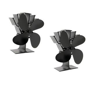 Pacote 2pcs Salamandra 4 Blades Calor Auto-Powered Fan Top Log Burner Lareira operação silenciosa