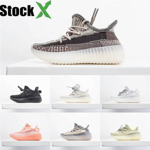 Top Quality 2020 Kanye West Chaussures de course pour enfants Desert Sage Terre Lin Lin Marsh Tail True Light Form Zyon White Shoes Designer # 442