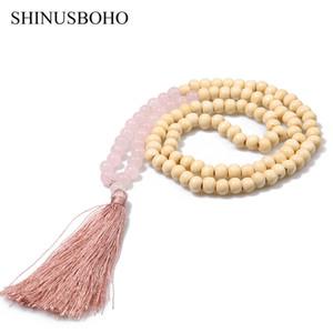 SHINUSBOHO 술 목걸이 여성을위한 롱 목걸이 수제 8mm 세미 - 귀중한 돌 나무 비즈 목걸이 친구 우정 쥬얼리 여성