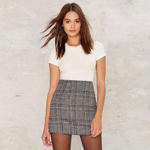 Cinza de lã Mulheres Short Skirt 2020 Simples Primavera Verão Estilo da manta Saias Casual para Senhora da